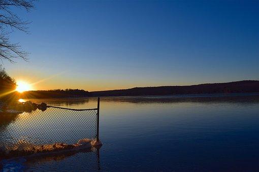 Lake, Sunset, Frozen, Landscape, Fence, Nature, Sky