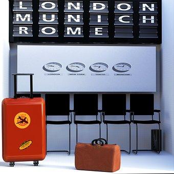 Waiting Area, Luggage, Bag, Travel, Holiday
