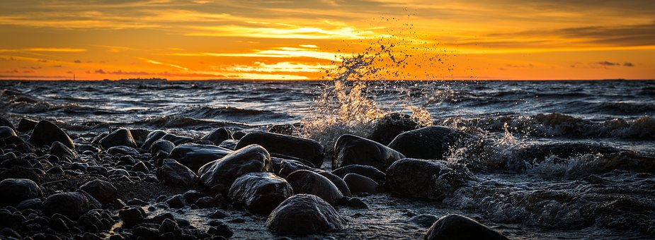 Sunset, Water, Bay, Splash, Wave, Spray, Stones