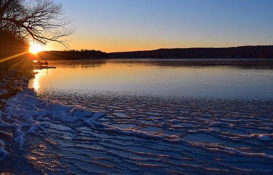 Lake, Sunset, Frozen, Landscape, Nature, Sky, Sun