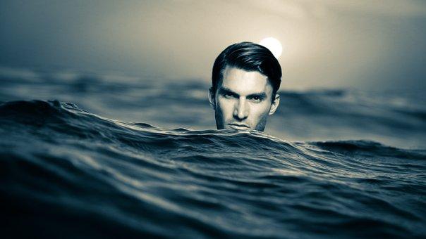 Swimming, Man, Face, Light Sea, Water, Ocean, Wave, Wet