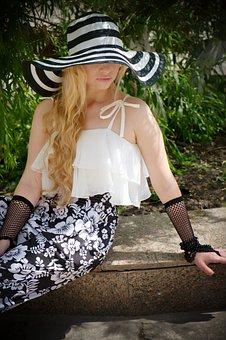 Hat, Wide-brimmed Hat, Elegantly, Bw, Jumpsuit, Summer