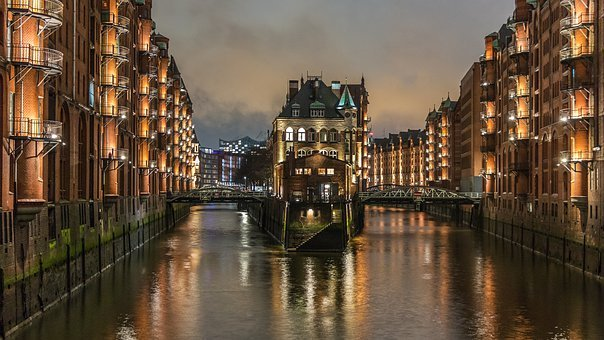 City, River, Bridge, Waters, Reflection, Speicherstadt