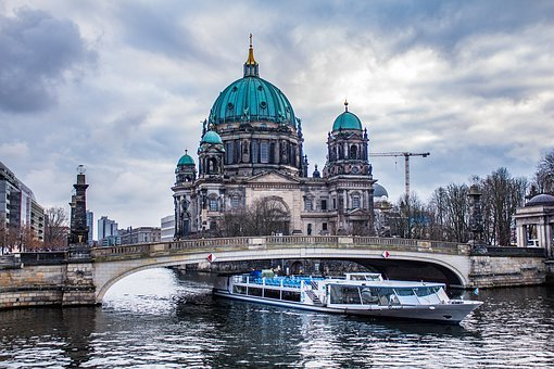 Berlin, River, Sky, Water, Architecture, Center, Ship