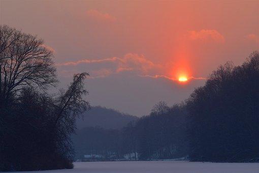 Sunset, Winter, Frozen, Landscape, Nature, Sky, Sun