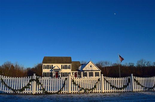 House, Christmas, Fence, White Picket Fence, Dusk