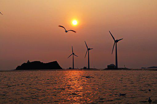 Sunset, Wind, The Body Of Water, Windmill