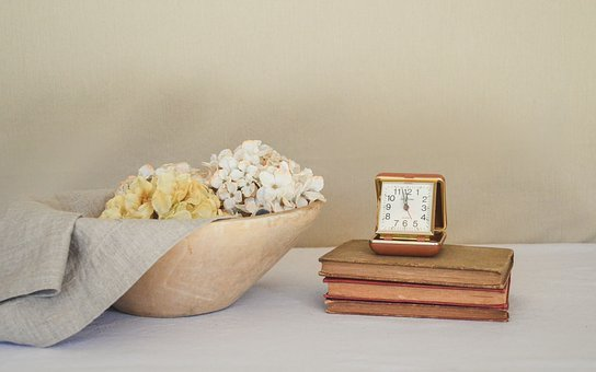 Books, Vintage, Clock, Time, Bowl, Wooden, Texture