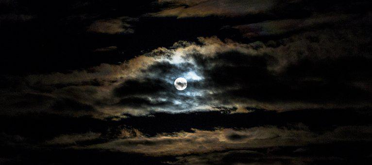 Month, Clouds, In The Evening, Night, Full Moon, Nature