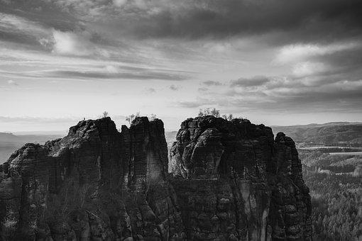 Landscape, Panorama, Nature, Sky, Rock, Human, Mountain