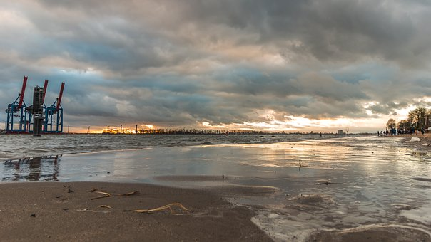 Waters, Sea, Beach, Sand, Sky, Elbe, Hamburg