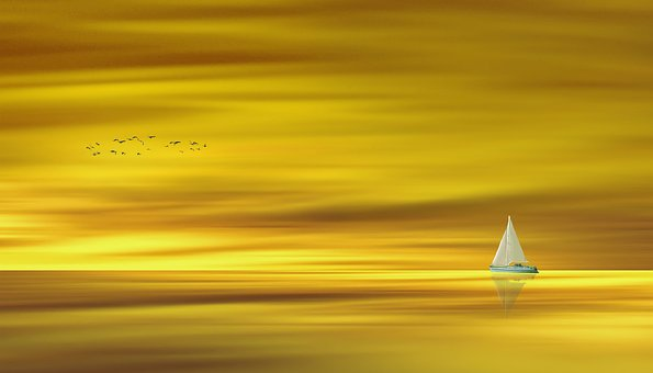 Waters, Gold, Golden, Water, Lake, Ocean, Ship