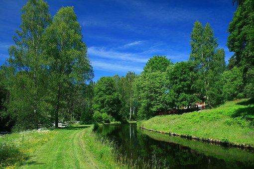 Landscape, Summer, Sweden, Channel