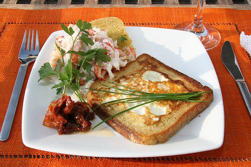 Toast, Toasted, Eggs, Fried Egg, Chives, Crayfish