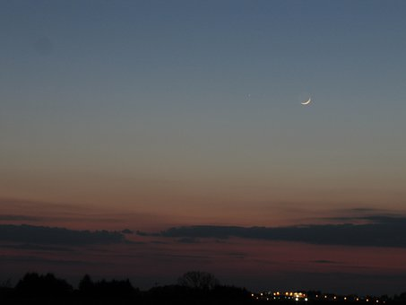 Moon, Mercury, Abendstimmung, Planet, Astro, Evening