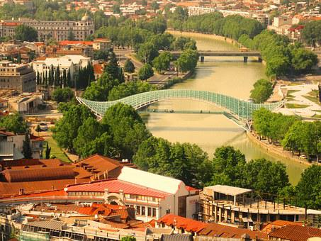 Tbilisi, Bridge, River, Georgia, Architecture, Caucasus