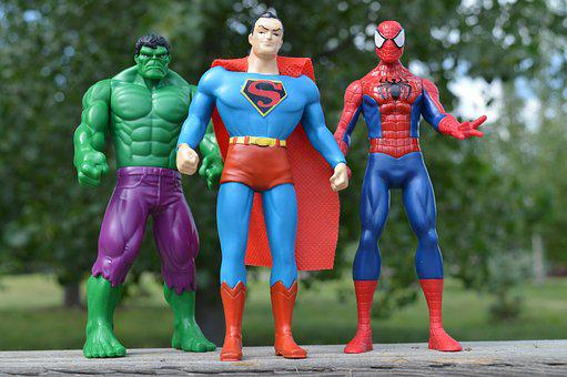 Superheroes, Incredible Hulk, Superman, Spiderman