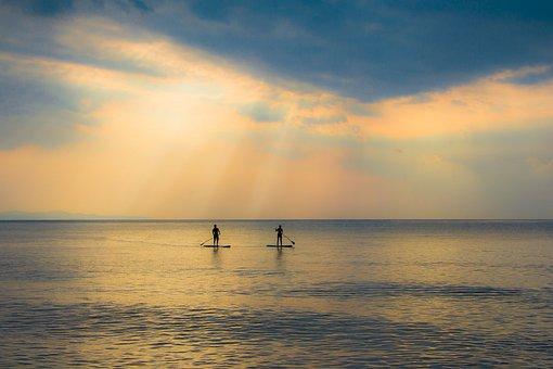 Sunset, Water, Dawn, Sea, Beach, Bannachomtien