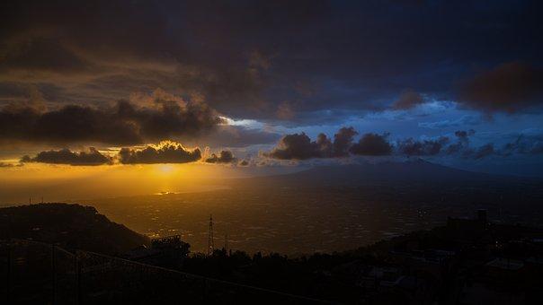 Sunset, Panoramic, Nature, Sun, Landscape, Horizon, Sky