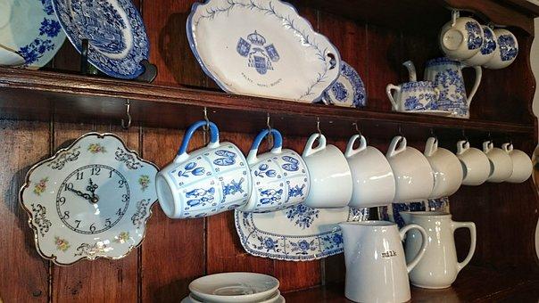 Porcelain, Hand Painted, Ceramic, Antique, Inside, Old