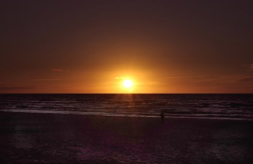 Sunset, The Sun, Sea, The Waves, Beach, Lonely Man