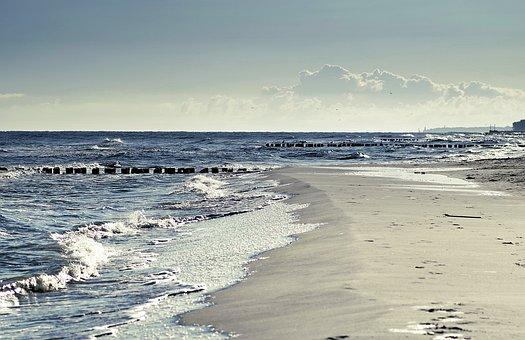 Sea, The Waves, Beach, The Coast, Sand, Sky, Breakwater