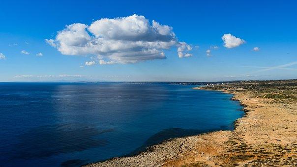 Sea, Horizon, Infinity Blue, Sky, Clouds, Travel