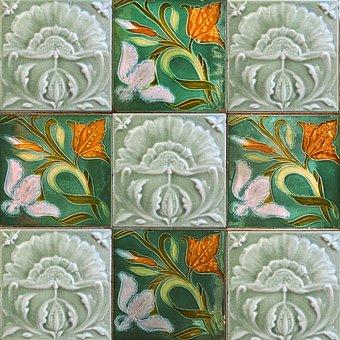 Tile, Wall Tile, Ceramic Tile, Jugendstil, Art Nouveau