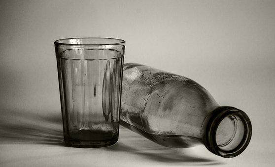 Glass, Bottle, Black And White, Still Life, Yogurt, Old