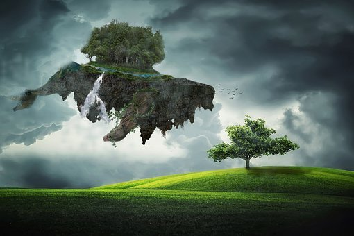 Whale, Grass, Cloud, Wood, Rock, Mysterious