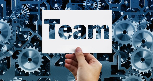 Team, Gear, Gears, Blue, Hand, Keep, Business Card, Map