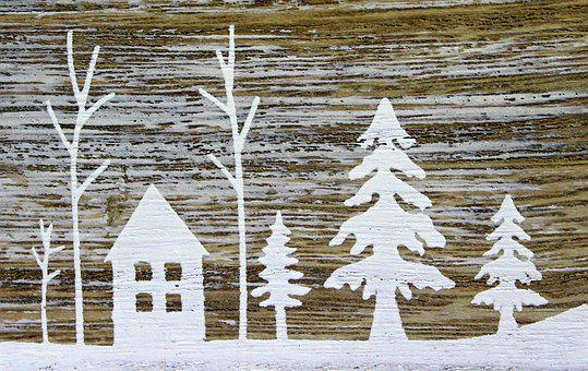 Winter, Snow, Painting, White, Wood, Image