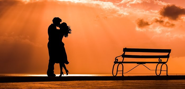 Couple, Romance, Love, Kiss, Lovers, Bench, Sunset