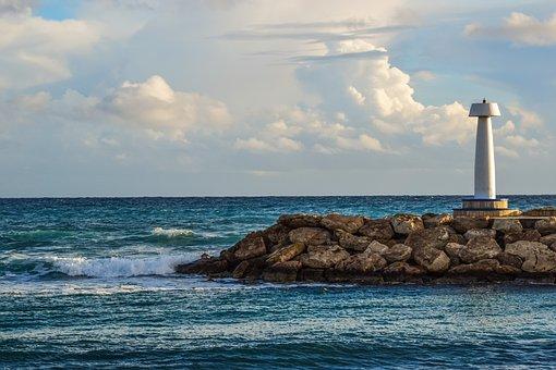 Sea, Breakwater, Lighthouse, Beacon, Seashore, Sky