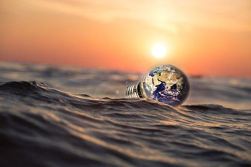 Sea, Nature, Water, Sunset, Beach, Reflection, Bulb