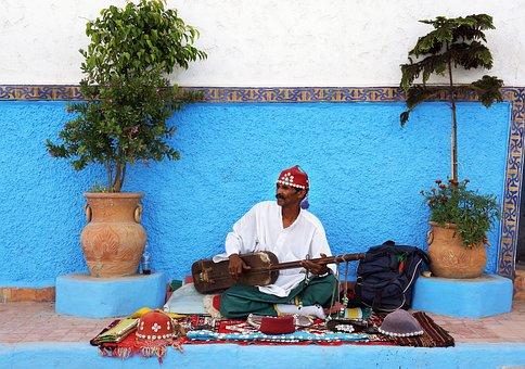 Moroccan, Street, Performer, Gnawa Guinbri, Santir