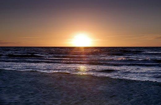 Sunset, Beach, Water, The Waves, Sand, The Sun, Sea