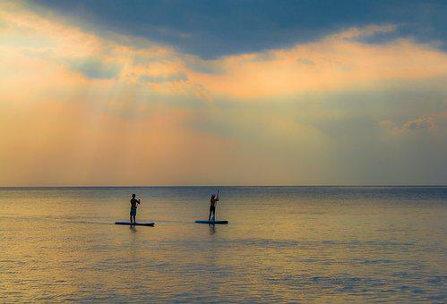 Sunset, Water, Dawn, Dusk, Silhouetted, Beach, Ocean