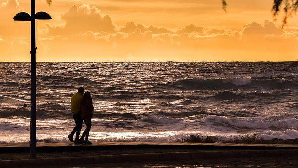 Sunset, Sea, Promenade, Couple, Romantic, Afternoon