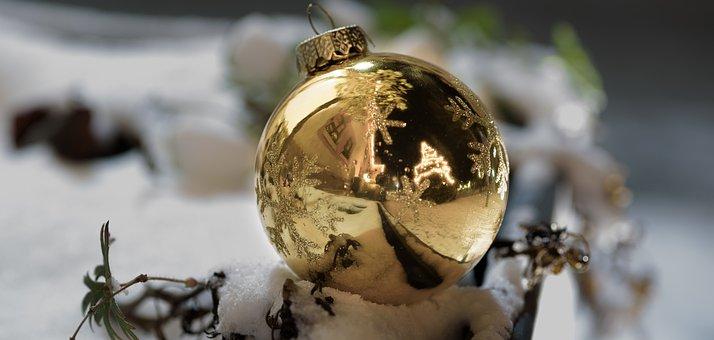 Christmas, Winter, Shiny, Golden, Snow, Ball, Mirroring