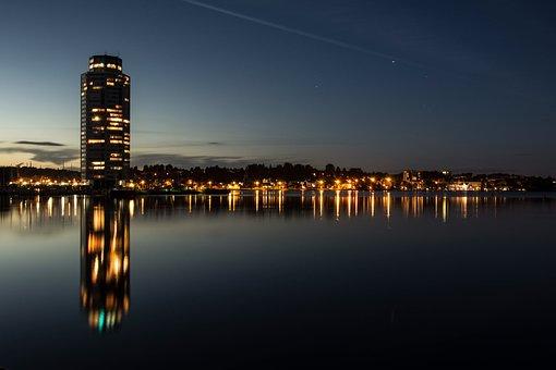 Sunset, Waters, Reflection, City, Dusk