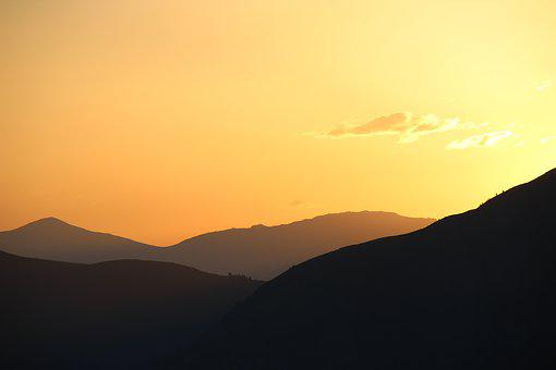 Sunset, Mountain, Sky, Dusk, Silhouette, Landscape