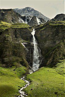 Waterfall, Glacial Lake, Mountains, Switzerland