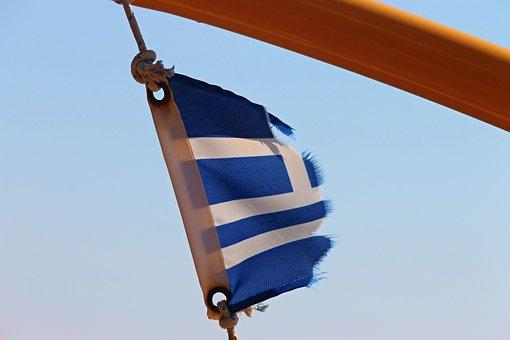 Flag, Worn Out, Frayed, Greece, Ship's Flag, Blue