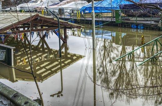 High Water, Flood, Port, Marina, Underwater, Water