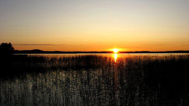 Sunset, Finland, Lake, Abendstimmung, Midsummer, Idyll