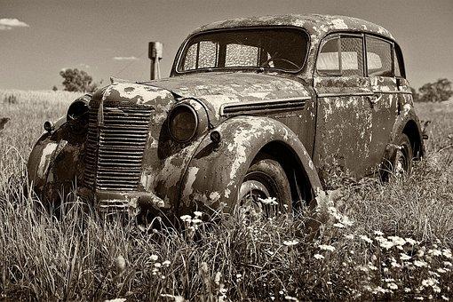 Car, The Abandoned, Retro, Vehicle, Monochrome