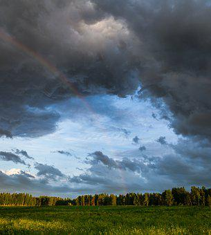 Landscape, Nature, Sky, Storm, Outdoors, Rainbow