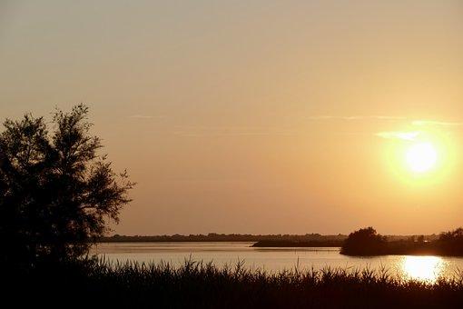Sunset, Sun, Nature, Waters, Dusk, Evening, Lake