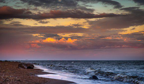Sunset, Water, Dawn, Twilight, Bay, Clouds, Wave